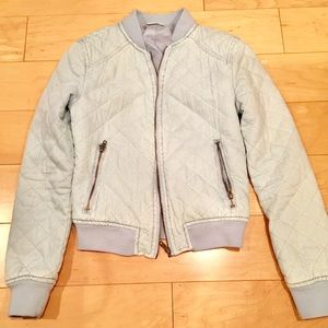 Jackets & Blazers - Target Quilted cropped bomber jacket light blue XS